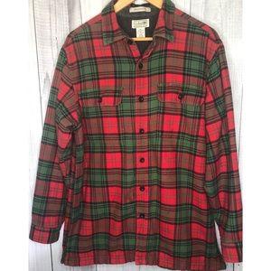 LL BEAN Plaid Flannel Shacket Shirt Jacket Fleece